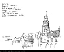 欧式尖顶塔楼建筑手绘线描图