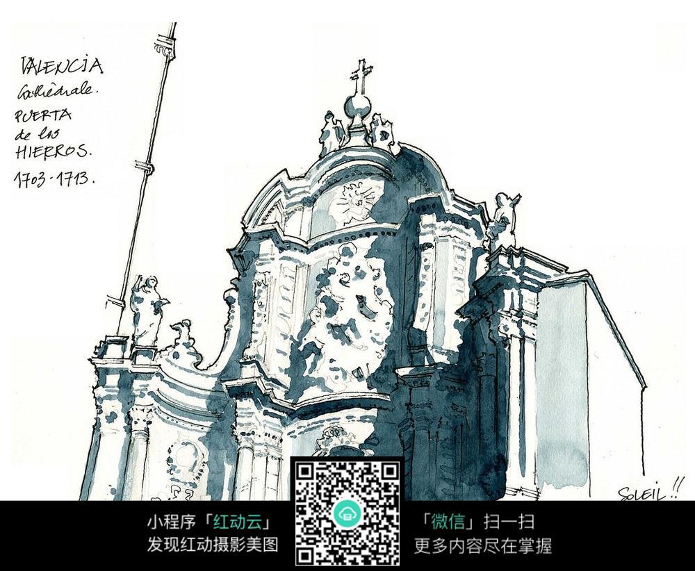 欧式建筑雕塑手绘水彩线描图