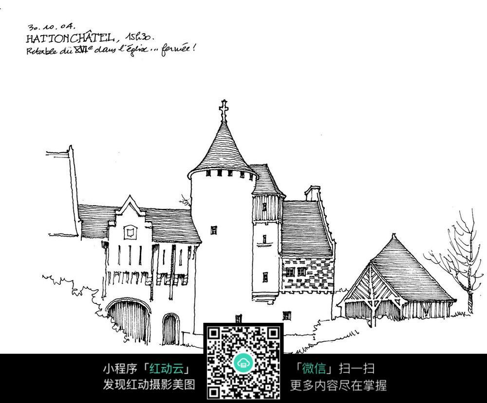 欧式建筑钢笔手绘线描图