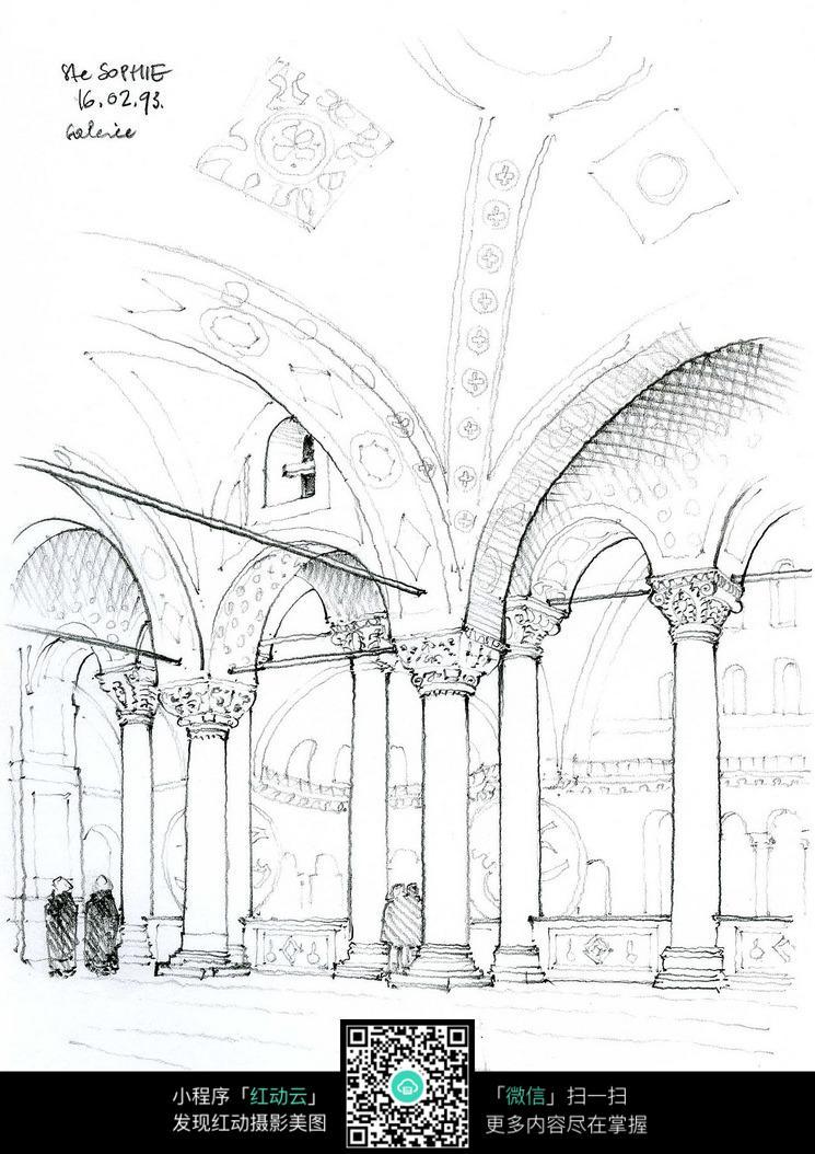 欧式建筑拱形门室内手绘线描图