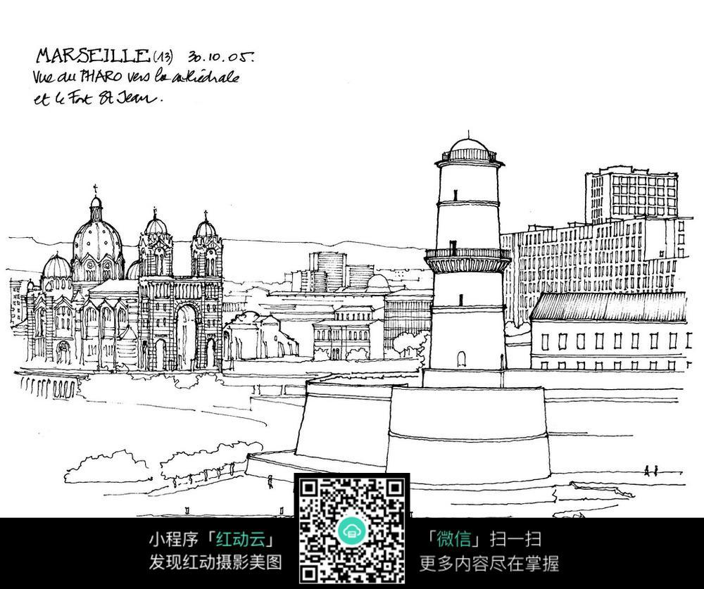 欧式建筑广场雕塑手绘线描图