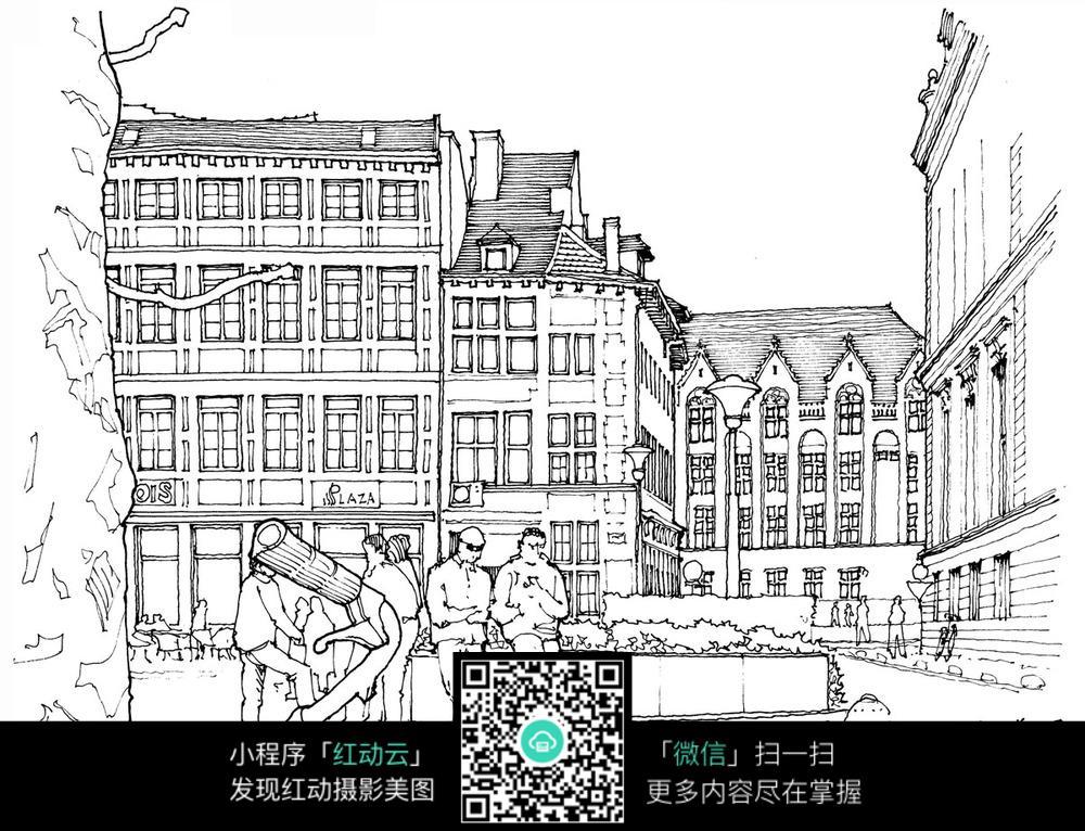 欧式建筑广场手绘线描图