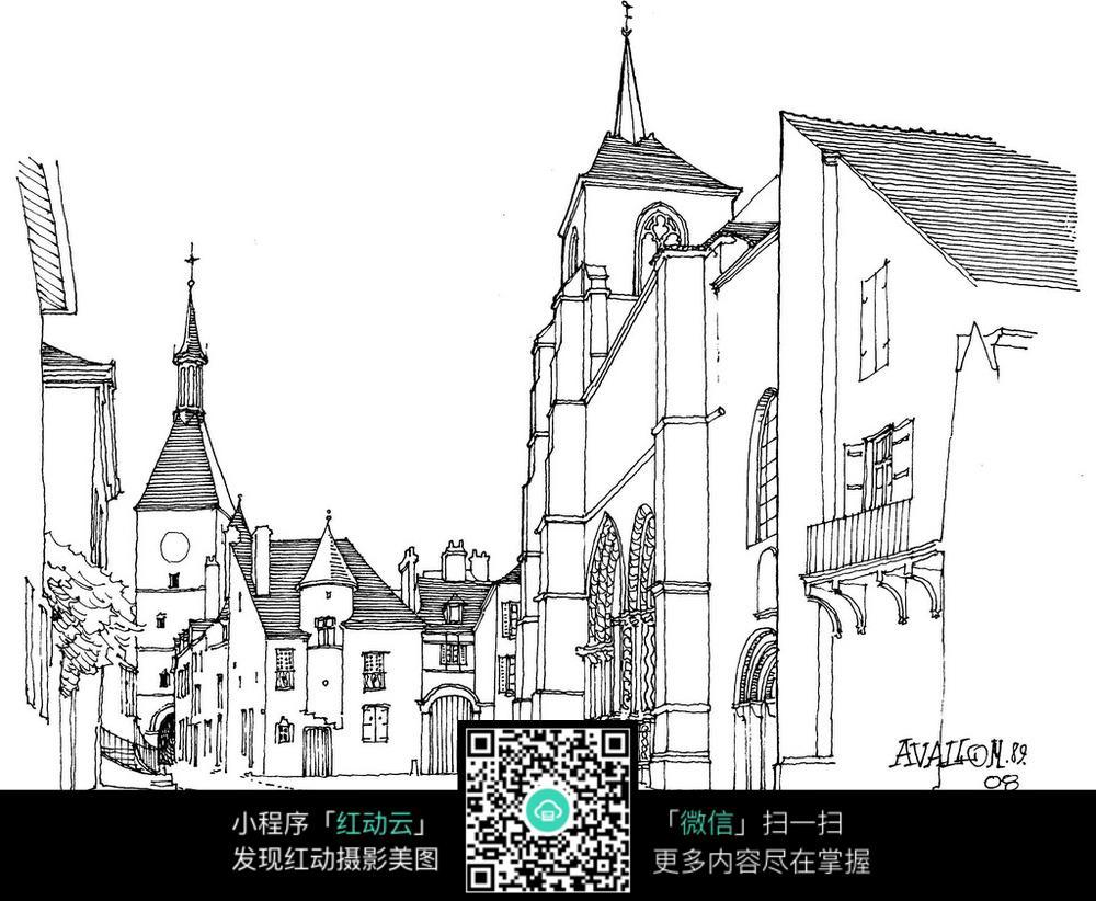 欧式建筑街道钢笔手绘线描图