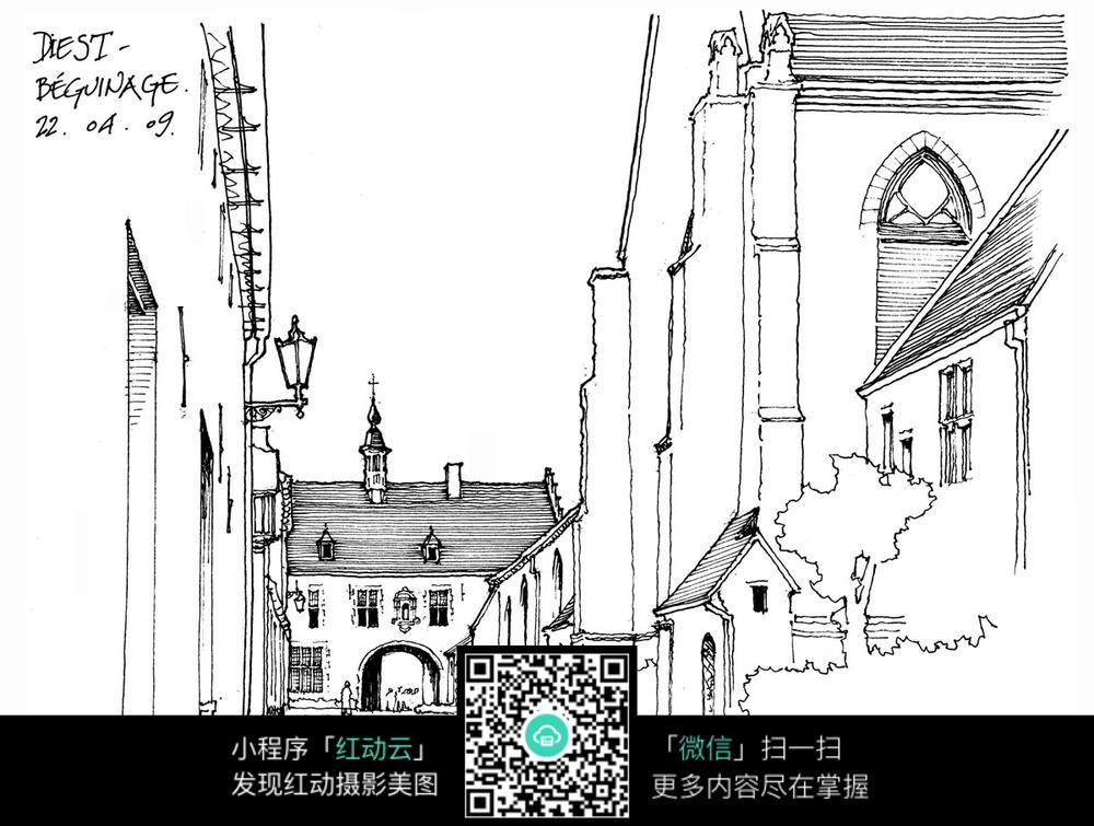 欧式建筑街道手绘线描图
