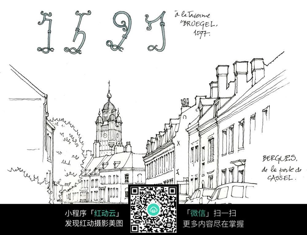 欧式钟楼建筑街道手绘线描图