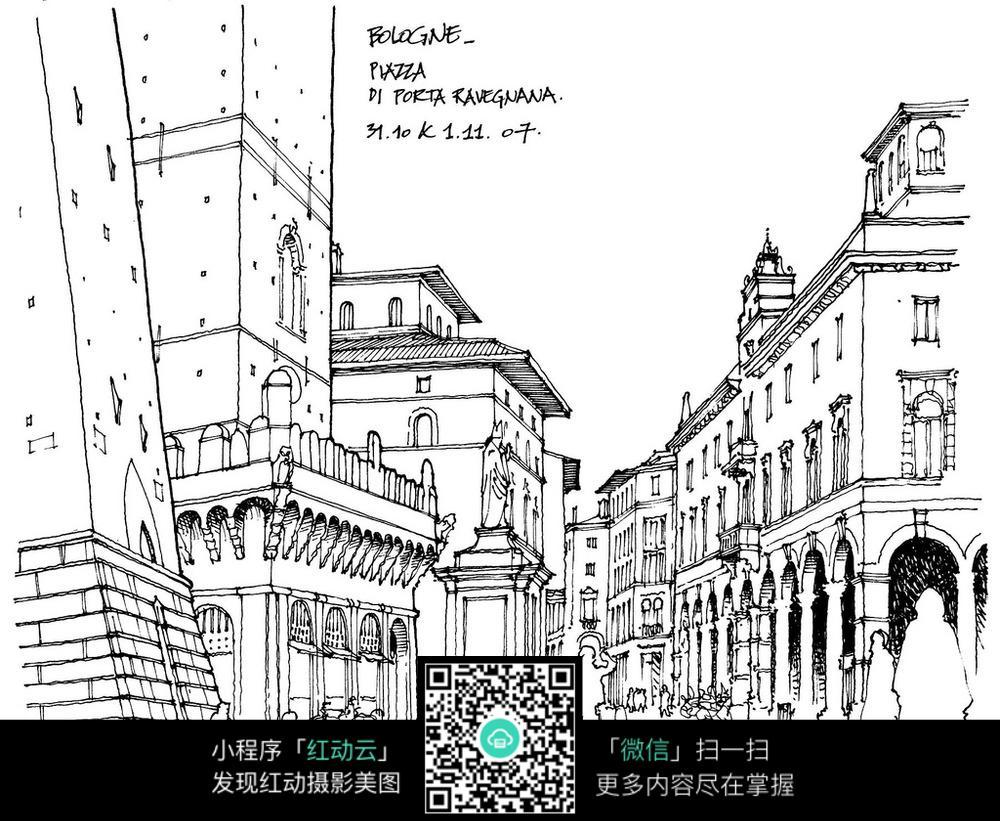 欧式建筑街道手绘线描图图片