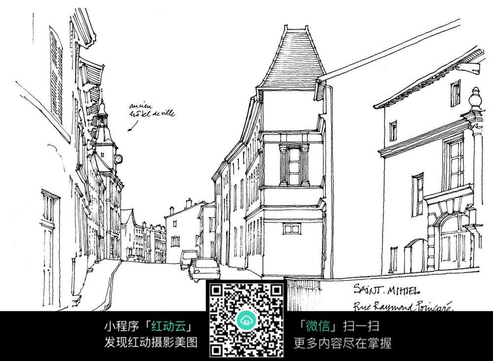 式建筑 街道 手绘 线描 图图片 建筑设计图片