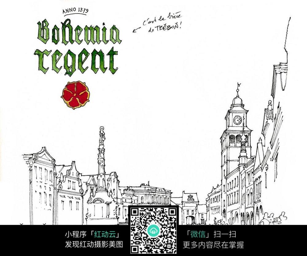 欧式建筑街景手绘线描画 建筑设计图片 红动手机版图片