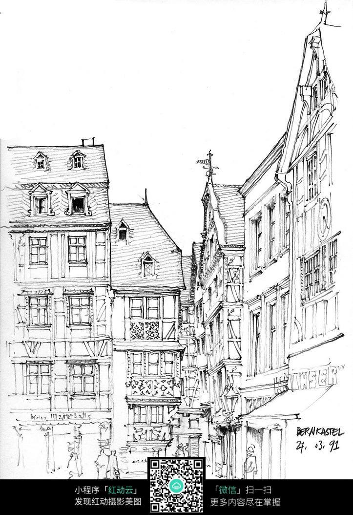 古街手绘线描图_建筑设计图片_红动手机版