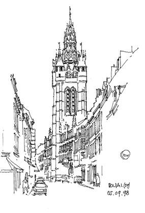 方案意向 手绘素材 现代建筑手绘景观透视图线稿  欧式钟楼建筑街景图片