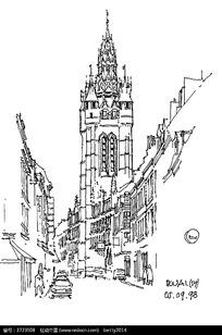 欧式建筑街景手绘线描图图片 欧式建筑街景手绘线描图设计素材 红动网图片