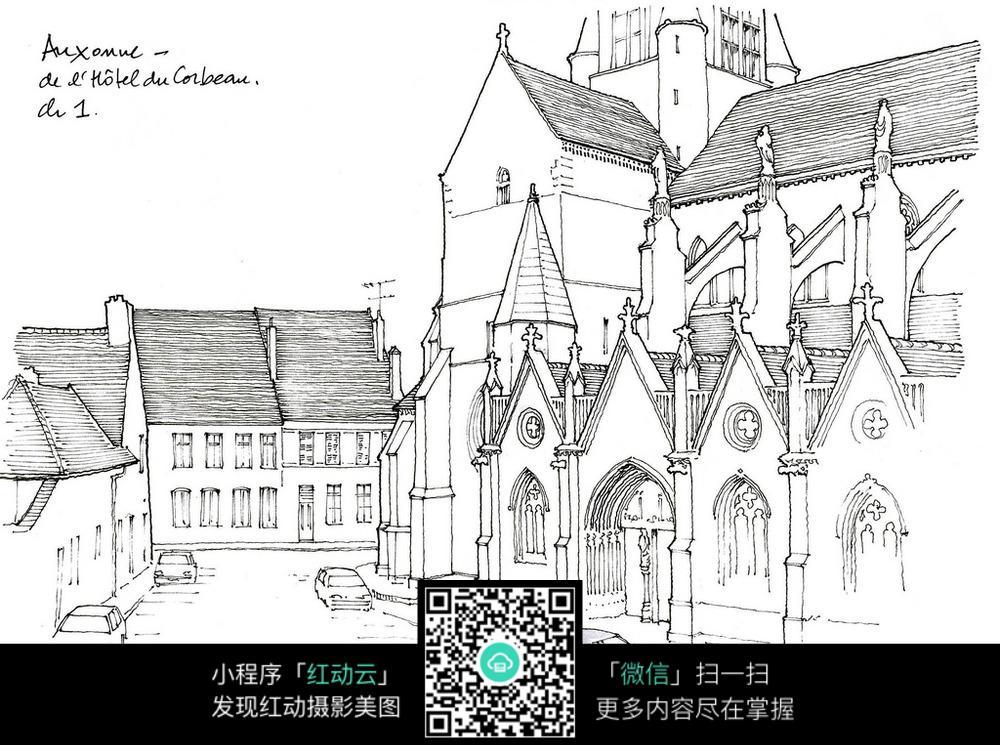 欧式建筑街景手绘线描图