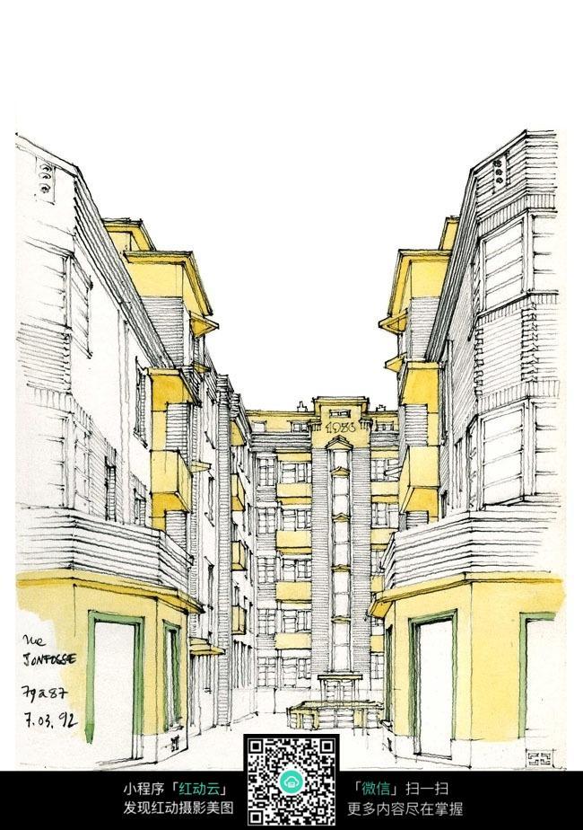 欧式建筑街景水彩手绘线描图