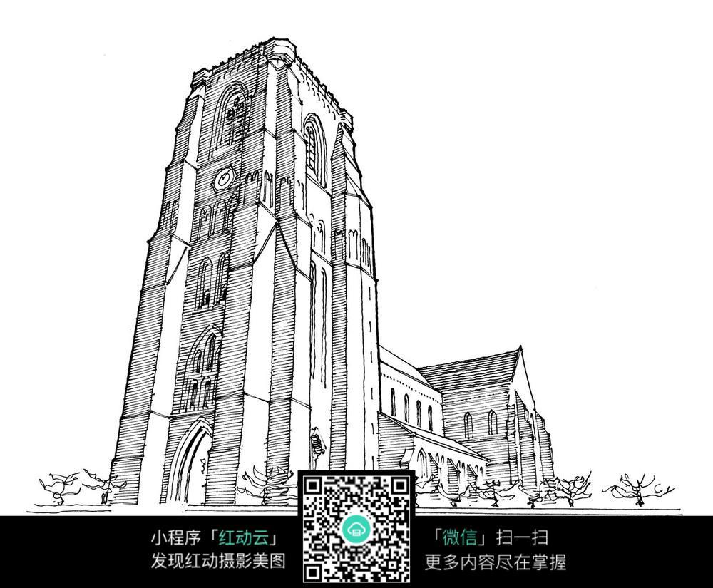 欧式建筑景观钢笔手绘线描图