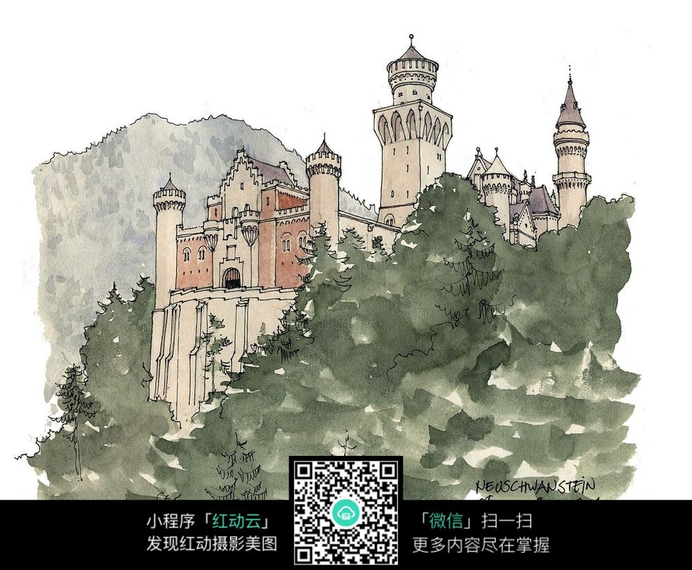 欧式楼房景观手绘线描图_建筑设计图片_红动手机版