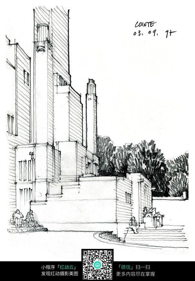 欧式建筑景观手绘线描图