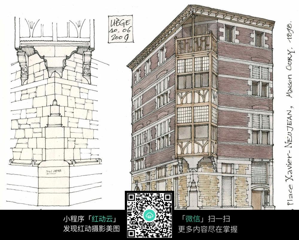 欧式建筑立面手绘水彩线描画