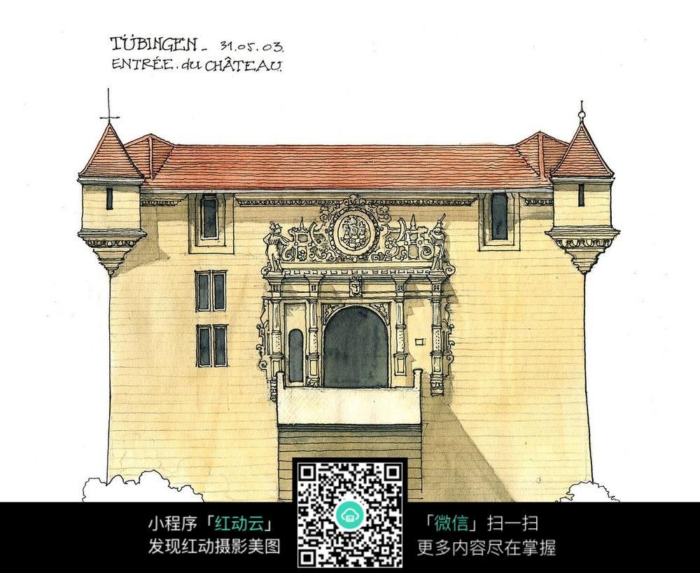 欧式建筑里面手绘水彩线描图