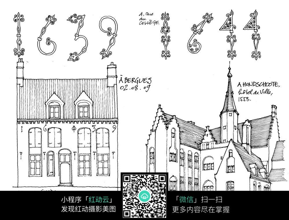 欧式建筑立面细部手绘线描图