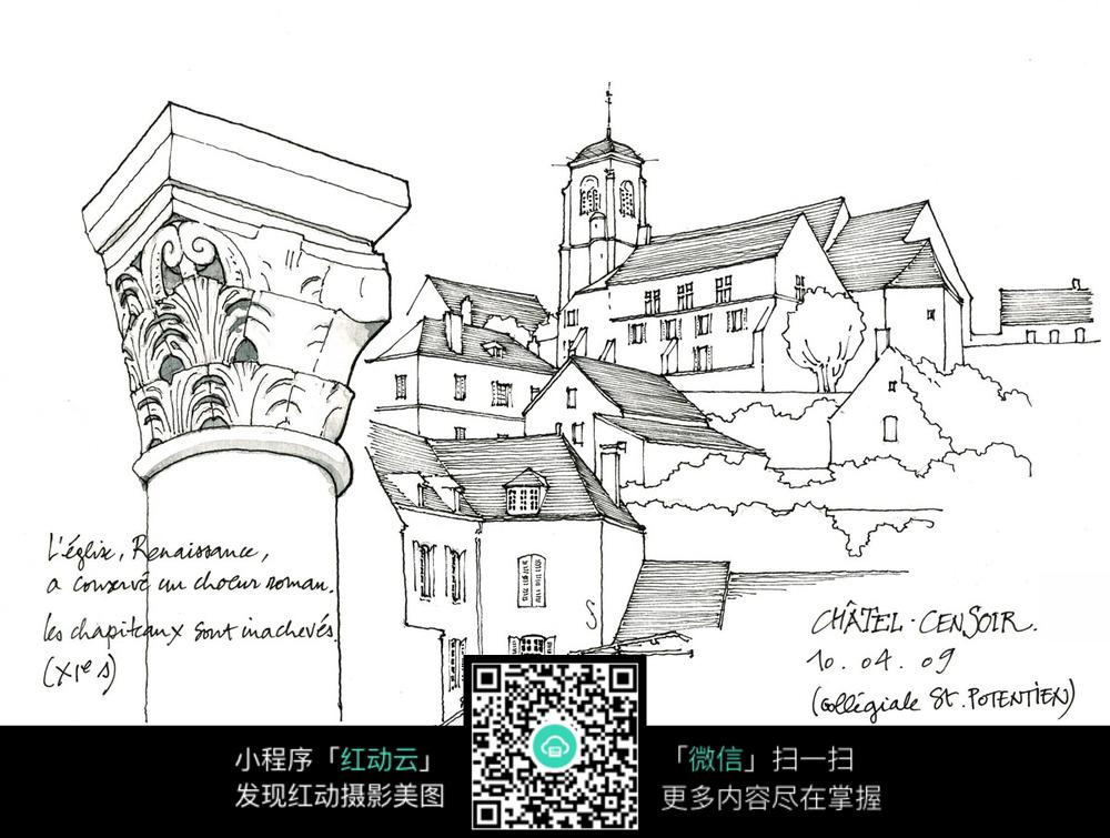 欧式建筑立柱景观手绘线描图