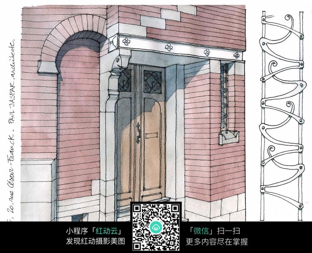 欧式建筑门头手绘水彩线描图