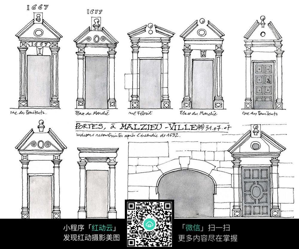 欧式建筑门头手绘线描图
