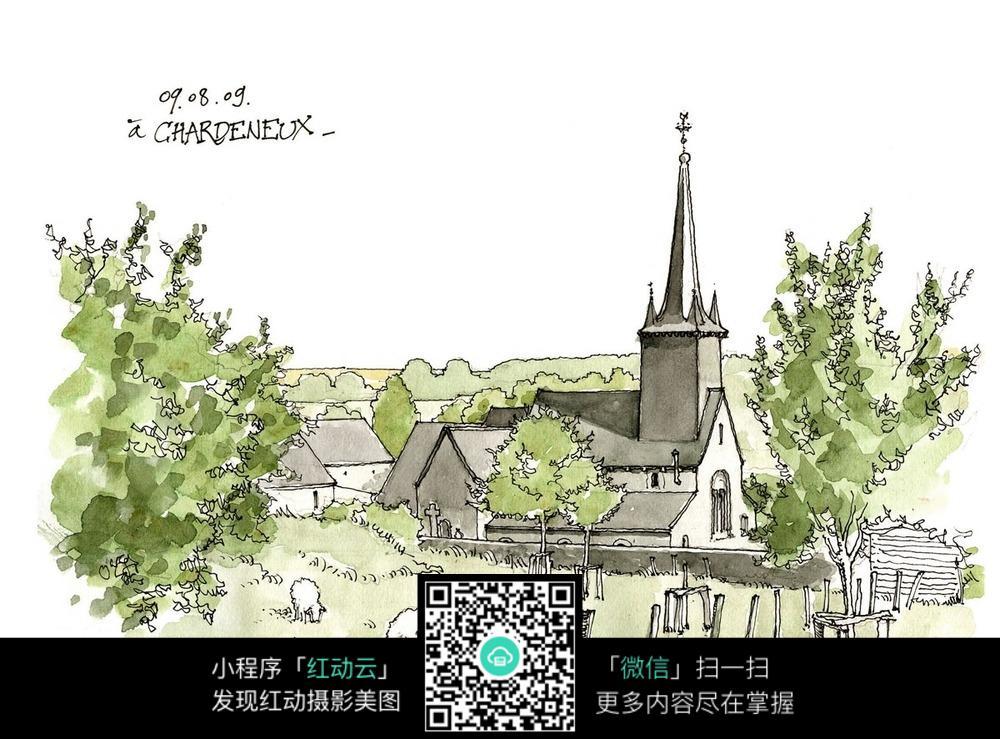 欧式建筑农村手绘水彩线描图
