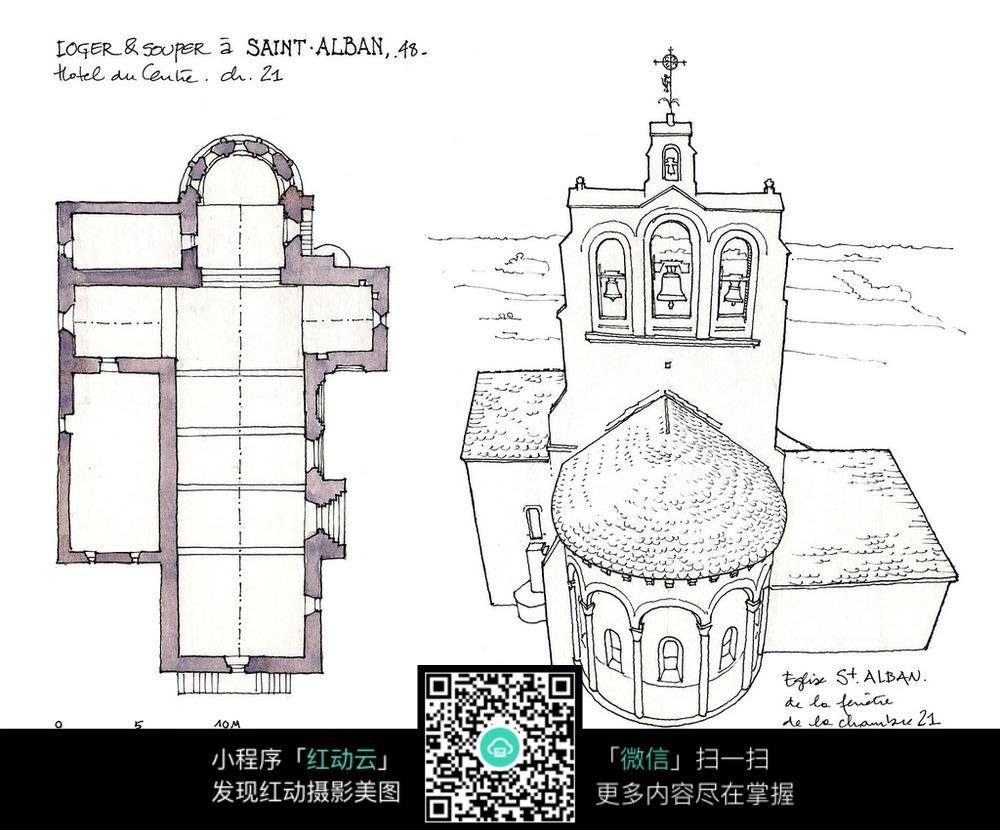 欧式建筑平面图手绘线描图