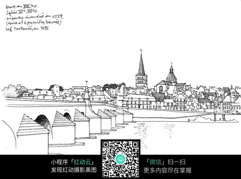 欧式建筑桥梁手绘线描图