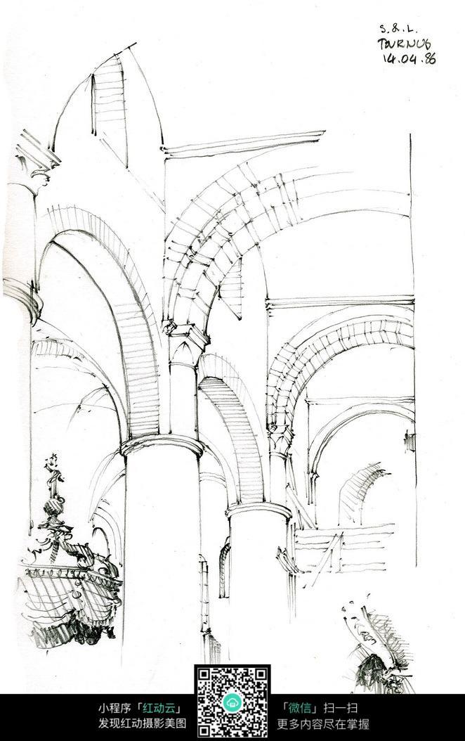 欧式建筑室内结构手绘线描图_建筑设计图片
