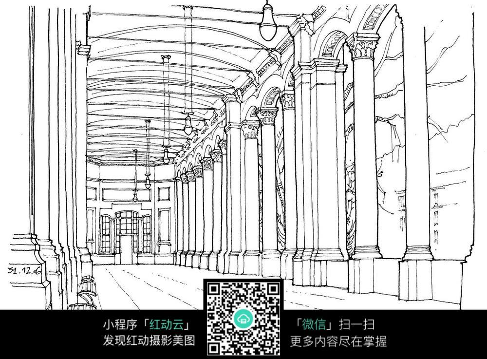 欧式建筑室内空间效果手绘线描图