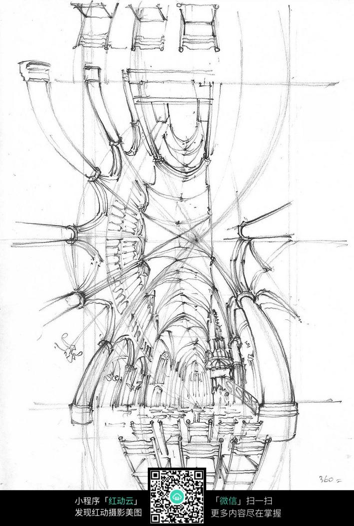 欧式建筑室内仰视手绘线描图