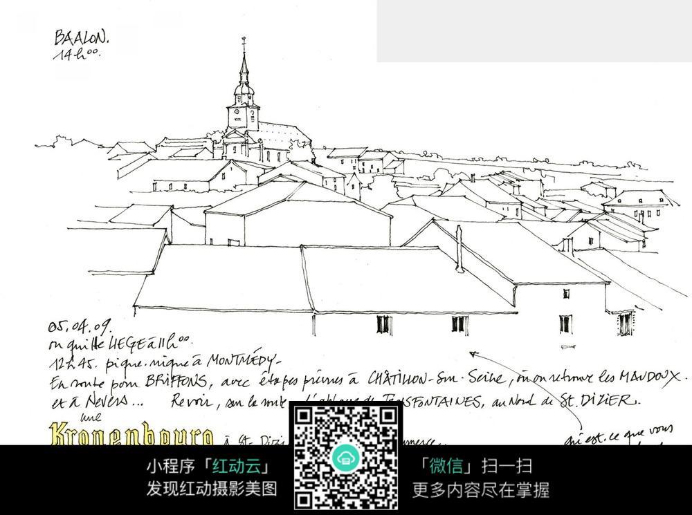 欧式建筑手绘简笔线描图