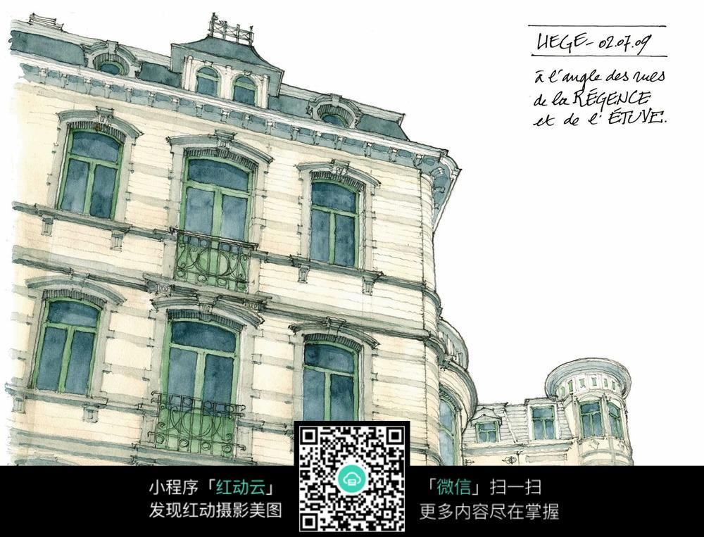 欧式建筑手绘水彩线描画