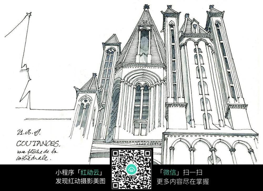 欧式建筑手绘水彩线描图