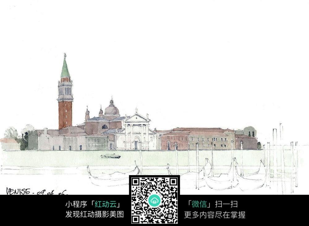 欧式建筑水彩手绘线描图