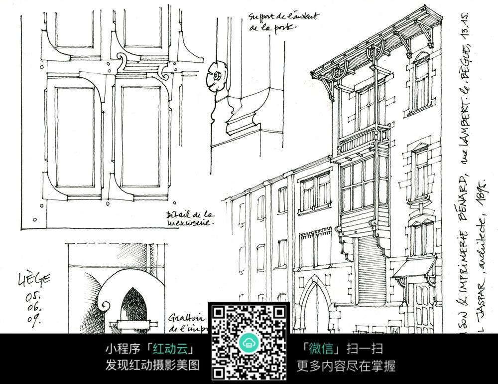 欧式建筑外立面细部手绘线描画