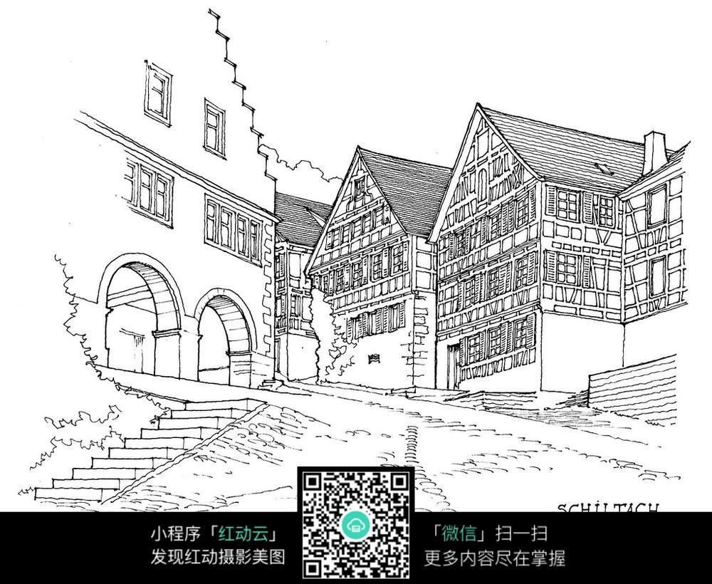 欧式建筑小巷景观手绘线描图