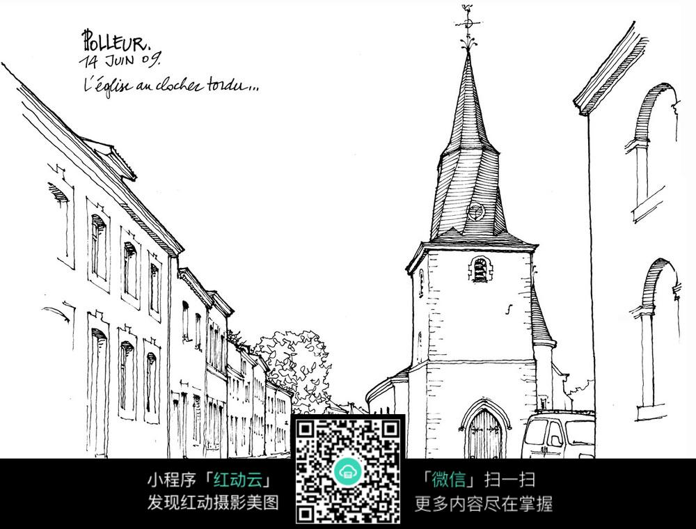 欧式建筑小巷手绘线描图