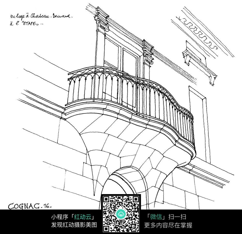欧式建筑阳台钢笔手绘线描图