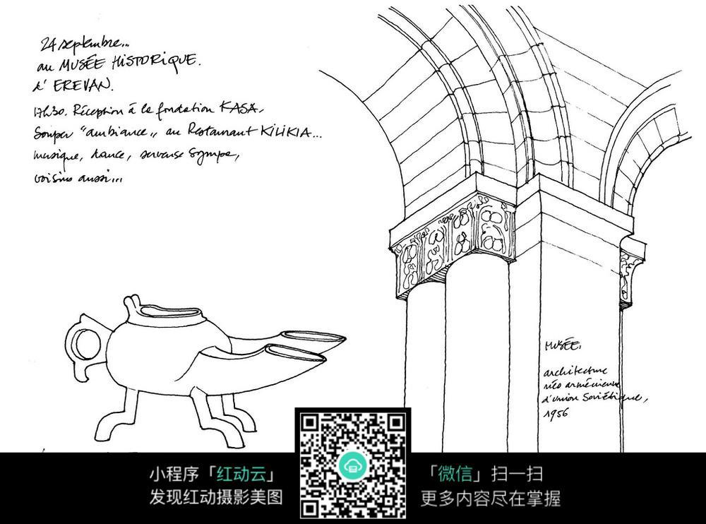 欧式建筑柱子古董手绘线描图