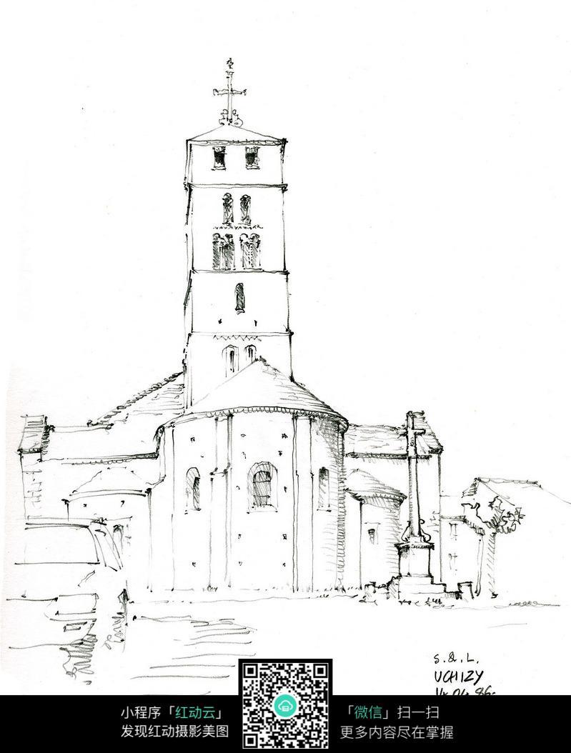 欧式教堂建筑立面手绘线描图