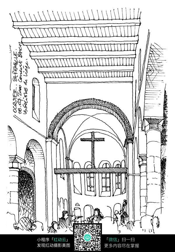 欧式教堂建筑人物手绘线描图