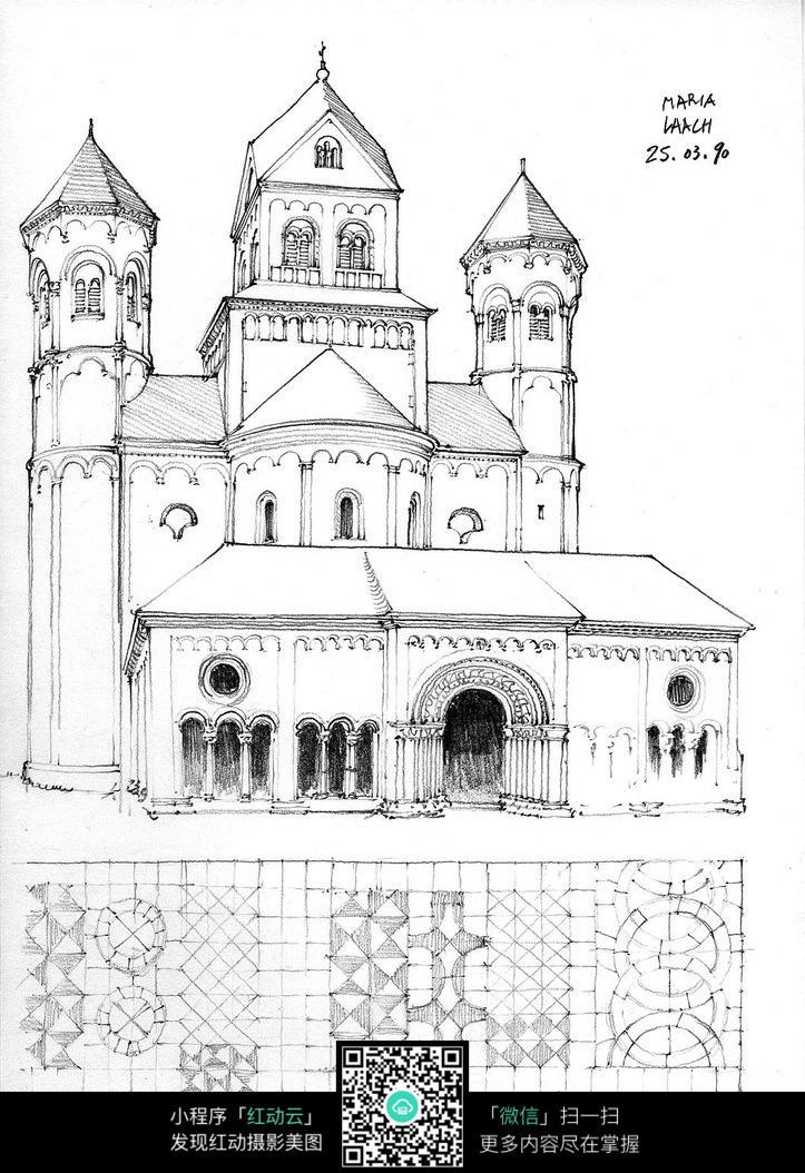 欧式教堂建筑设计稿