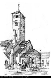 欧式建筑手绘线描图图片