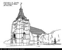 欧式教堂建筑手绘线描图