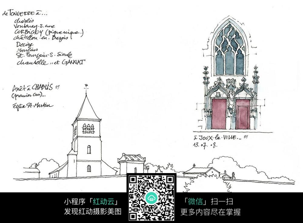 欧式教堂立面细部手绘线描图