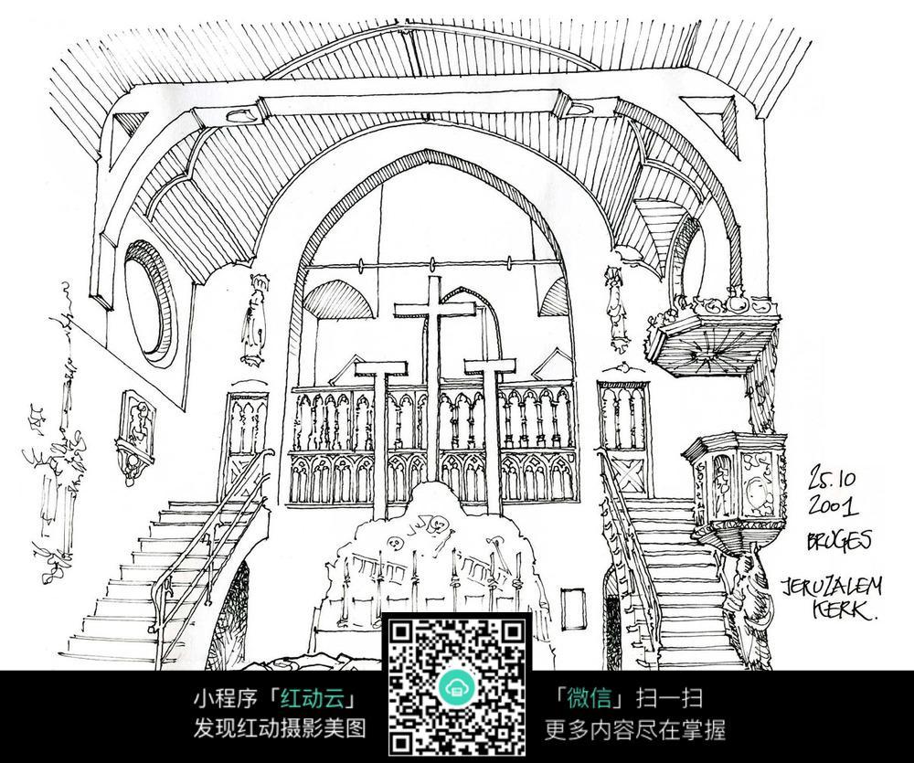 欧式教堂手绘线描图