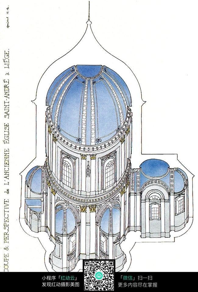 式 精美建筑 俯视 手绘线描图图片 建筑设计图