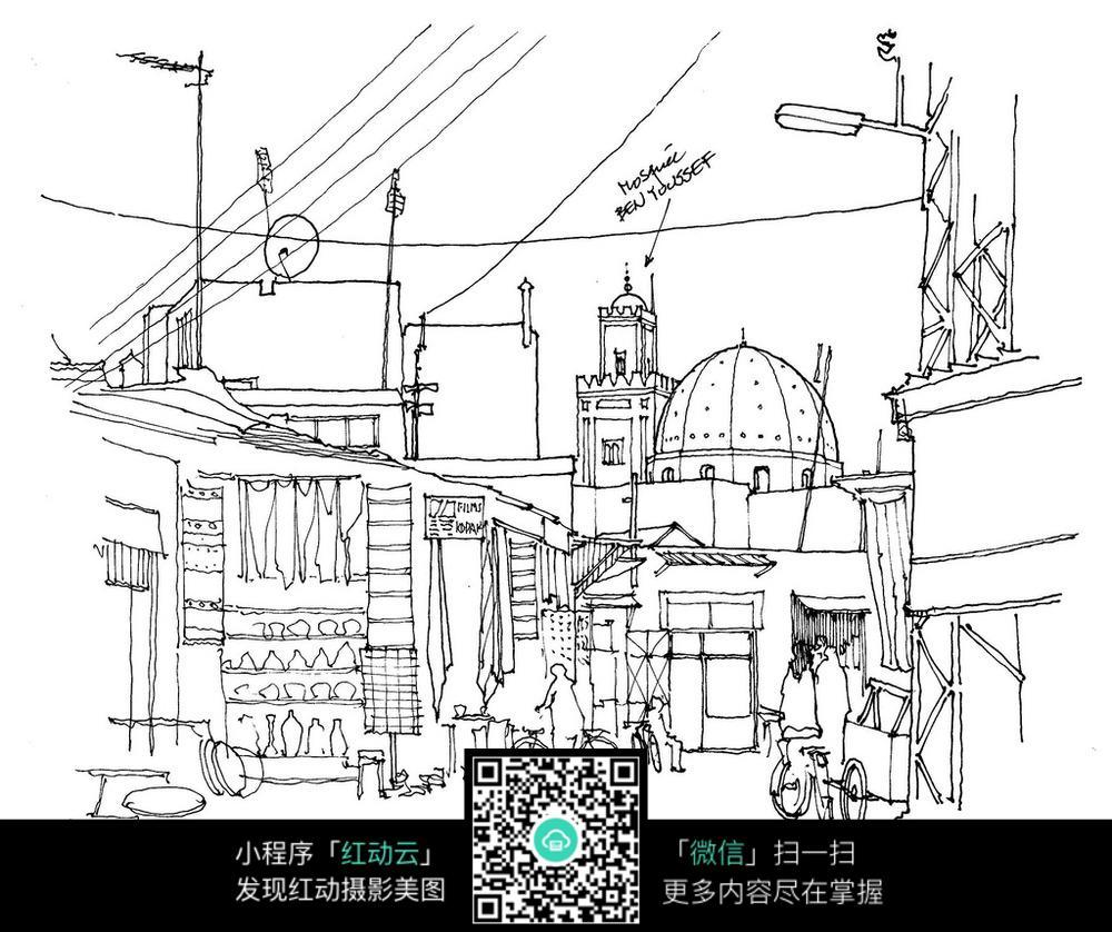 欧式精美建筑街景手绘线描图图片